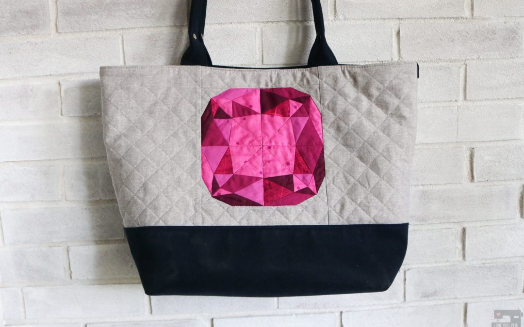 Love You Sew Colleen Tote Bag with Gemology Quilt Block