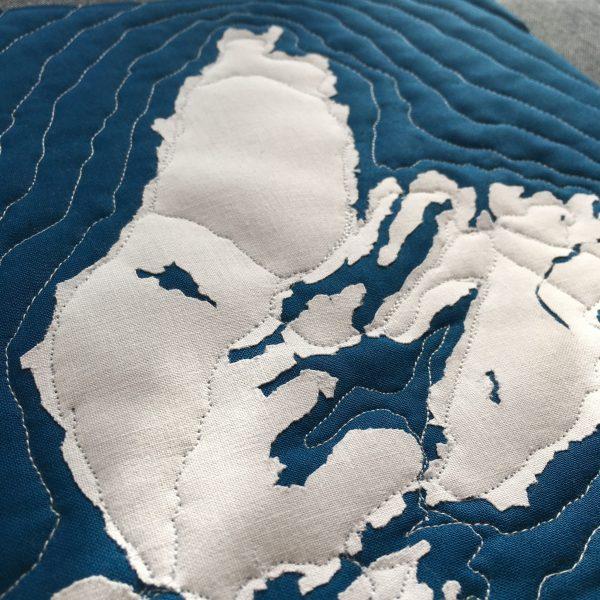 Cape Breton Map, Nova Scotia, Andrea Tsang Jackson, 3rd Story Workshop, Quilted Map