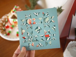 Vintage Quilt Block, Holiday Card, Liberty of London fabric, 3rd Story Workshop