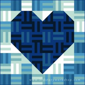 3rd Story Workshop - Quilts for Nova Scotia - Blue Rail Fence Heart